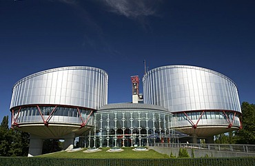 View of the European Court of Justice for human rights with the two cylindrical buildings of the court halls, Strasbourg, France