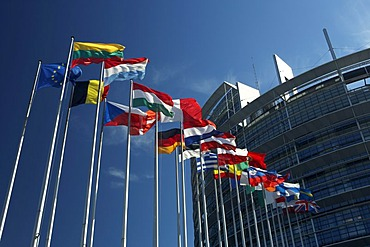 Flag poles with flags of the European Union countries blow before the building of the European parliament in Strasbourg, France