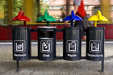 Garbage cans, waste separation, Berlin, Germany