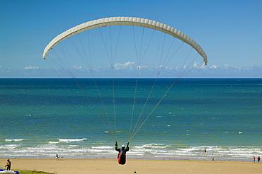 Paraglider at the beach, Erquy, Bretagne, France