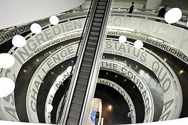 Labeled rotunda at the BMW museum, Munich, Bavaria, Germany, Europe