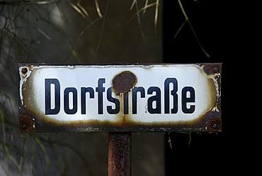 """Old road sign """"Dorfstrasse"""""""