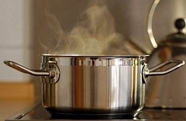 Steam rising out of cooking pot