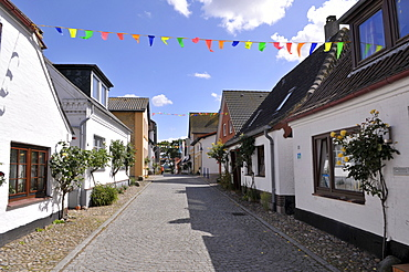 Westerstrasse Street in Maasholm, a fishing village, Baltic Coast, Schleswig-Holstein, Northern Germany, Europe