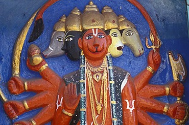 Vishnu, relief on a wall, Varanasi, U.P. ( Uttar Pradesh ), India
