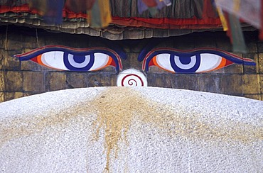 Detail of the great Stupa of Bodnath, ( Buddhas all-seeing eyes ) Bodhnath, Nepal