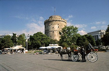 Bank promenade at the White Tower, Thessaloniki, Greece.
