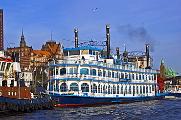 Louisiana Star steamboat docked at Hamburg Harbour, Hamburg, Germany, Europe