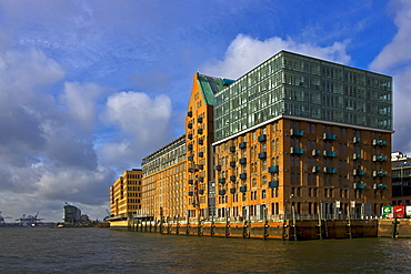 Apartment - and office buildings along the Elbe River, Hamburg Harbour, Hamburg, Germany, Europe
