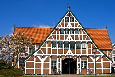 Historic timber framed, timber-frame town hall, Jork, Altes Land, Lower Saxony, Germany, Europe