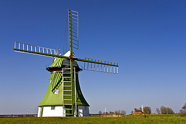 The Erdhollaender, an historic Dutch windmill near Wittmund, East Friesland, Lower Saxony, Germany, Europe
