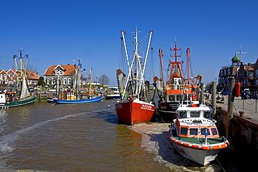 Fishing boats in Neuharlingersiel harbour, East Frisia, Lower Saxony, North Sea Coast, Wadden Sea, Germany, Europe