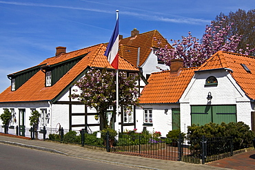 Historic timber-framed houses in Arnis on the Schlei River, flag of Schleswig-Holstein, Bad Arnis, Schleswig-Holstein, Germany, Europe