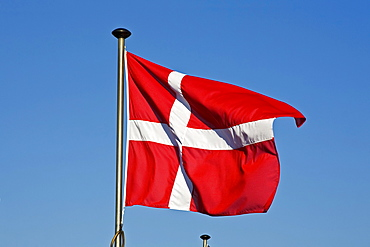 Danish Flag, Flag of Denmark, Dannebrog, fluttering in the wind on a flagpole