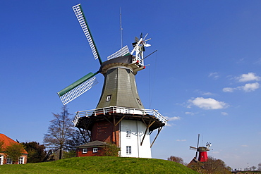 Twin mill in Greetsiel, windmill, built in the style of a two-storey Dutch gallery windmill with a wind rose, Krummhoern Greetsiel, Eastern Frisia, Lower Saxony, Germany, Europe