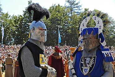 Knights in mediaeval medieval costume, knight festival Kaltenberger Ritterspiele, Kaltenberg, Upper Bavaria, Germany