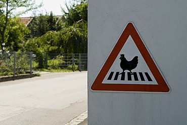 Warning sign crossing hen on cross walk in a small village north of Munich near Pfaffenhofen Bavaria Germany