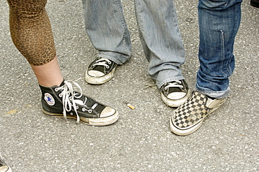 Punks with different sports shoes.