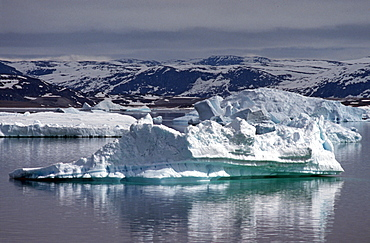 Icebergs, Disko Bay, Jacobshavn Icefjord, Greenland