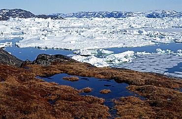 Icebergs, Disko Bay, Jacobshavner Icefjord, Greenland