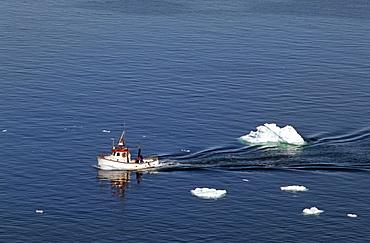 Fishing boat, Disko Bay, Ilulissat, Greenland, Danmark