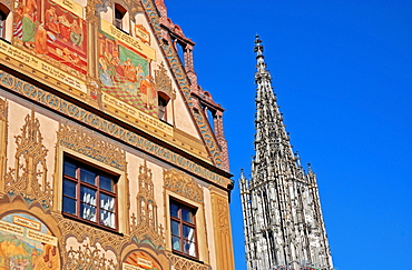 Town hall and Ulm Cathedral, Ulm, Baden-Wuerttemberg, Germany, Europe