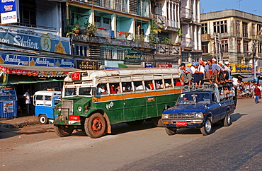Public transport with old busses in Bago, Burma
