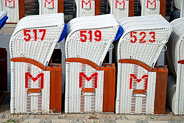 Numbered beach chairs, North Sea, Germany, Europe