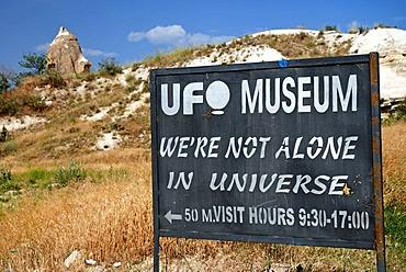 Indication sign for the UFO museum in Goereme, Kappadokia, Anatolia, Turkey