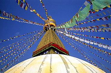 Boudhanath or Bodhnath, most important site of the Nepalese Buddhist community and largest stupa in the country, Kathmandu, Nepal, Asia