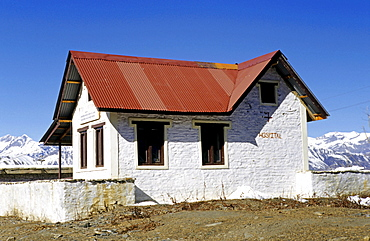 Small hospital in the pilgrimage town of Muktinath, Himalayas, Nepal, Asia