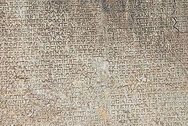 Stone inscriptions, Arsameia Ruins, Nemrut region, Anatolia, Turkey, Asia