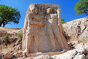 Stone relief, Mithridates and Hercules, Nemrut region, Anatolia, Turkey, Asia