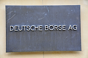 Metal sign, Deutsche Boerse AG or German Stock Exchange, Frankfurt, Hesse, Germany, Europe