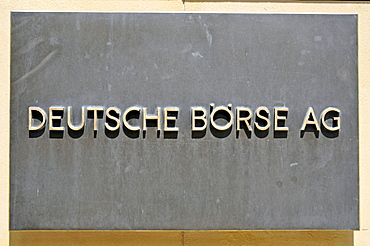 Deutsche Boerse, or German Stock Exchange, sign at the building entrance, Frankfurt, Hesse, Germany, Europe