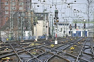 Railway track switches, Cologne, North Rhine-Westphalia, Germany, Europe
