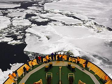 Capt. Khlebnikov icebreaker steering through pack ice, Ross Sea, Antarctica