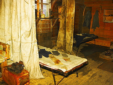 Shackleton's Hut at Cape Royds, interior with bed, Ross Island, Antarctica