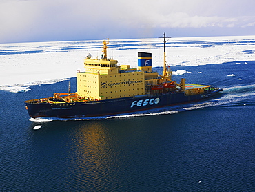 Captain Khlebevnikov icebreaker in Ross Sea pack ice, view from a helicopter, Antarctic