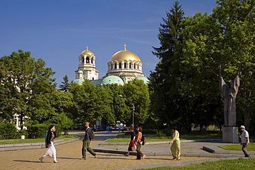 Municipal park with Saint Alexander Nevski Cathedral, Sofia, Bulgaria