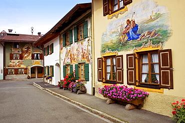 Wallpaintings, city of Mittenwald, Werdenfelser Land, Upper Bavaria, Germany