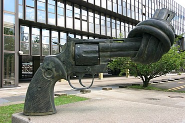 Revolver sculpture at financial district on Kirchberg , Luxembourg , Europe