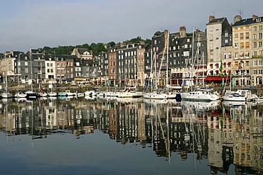 Port basin of Honfleur , Honfleur , Calvados, Normandy , France