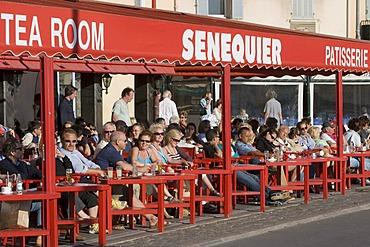 View of the cafe Senequier , Saint Tropez , Provence-Alpes-Cote d'Azur , France , Europe