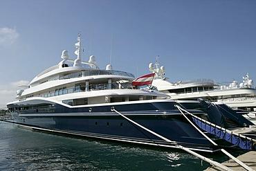 View of the Yacht Carinthia VII , Port Vauban , Antibes , Provence-Alpes-Cote d'Azur , France , Europe