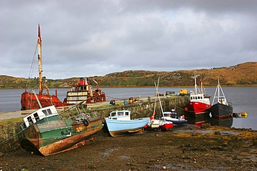 Ships in the bay at Letterfrack , Connemara , Connacht , Ireland , Europe