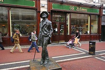 James Joyce figure at O'Connell Street , Dublin , Leinster , Ireland , Europe