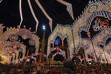 Illumination at night , Feria de Caballo , Jerez de la Frontera , Cadiz , Andalusia , Spain , Europe