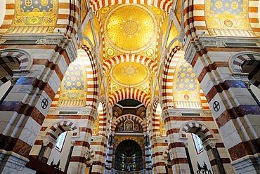 Basilica Notre dame de la Garde, arches, mosaik, Marseille, Provence-Alpes-Cote d'Azur, France