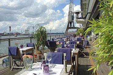 Terrace, Restaurant Au Quai at the Elbe river, Altona, Hamburg, Germany